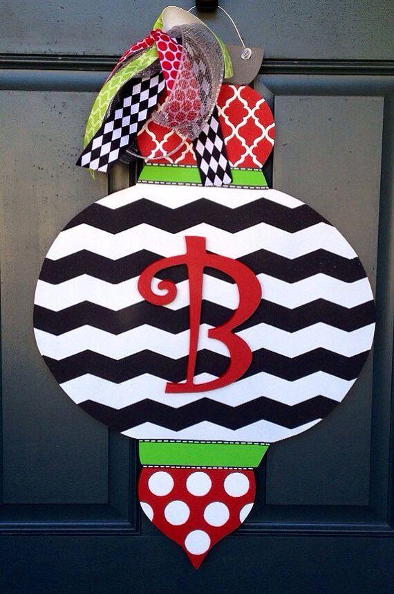 Personalized Wood Ornament Door Hanger  ImageStack  Burlap door
