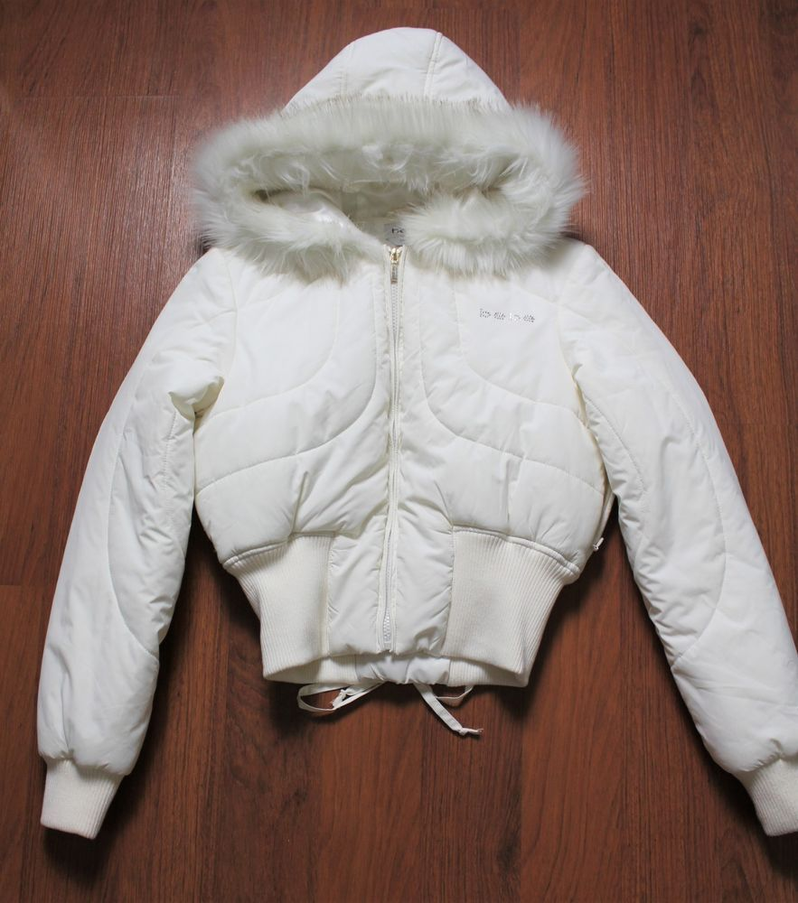 Bebe Women S White Cotton Padded Jacket With White Fur Size S