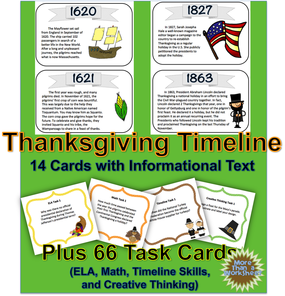 Thanksgiving Timeline Task Cards