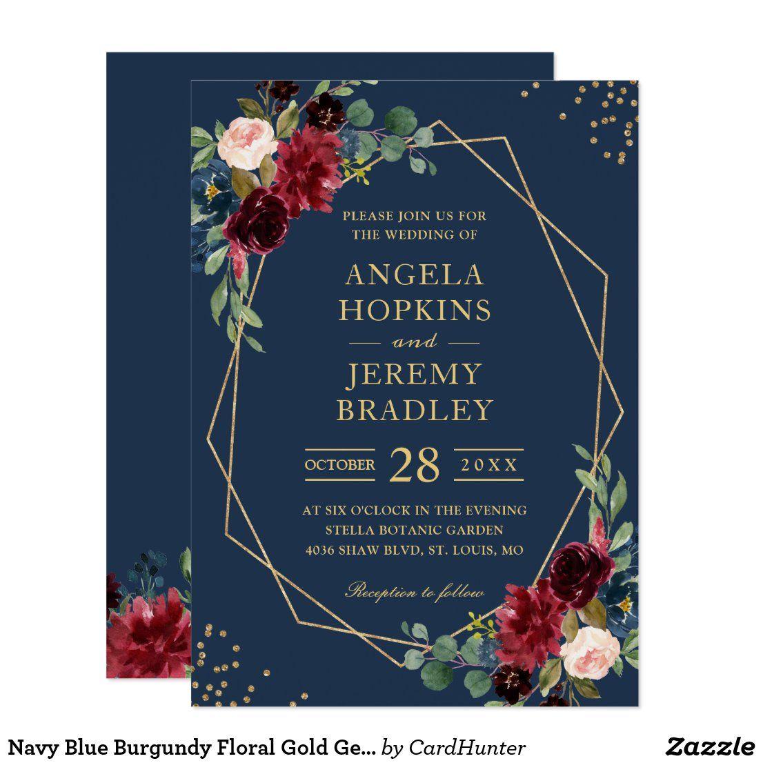 Navy Blue Burgundy Floral Gold Geometric Wedding