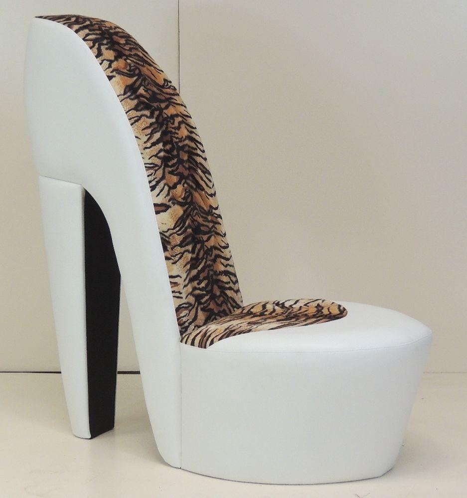 white stiletto shoe high heel chair tiger animal