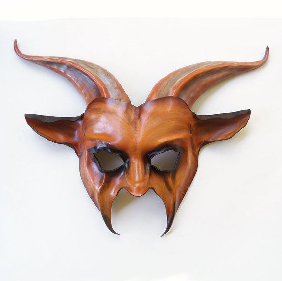 Leather Goat Mask in caramel brown black tan by teonova.
