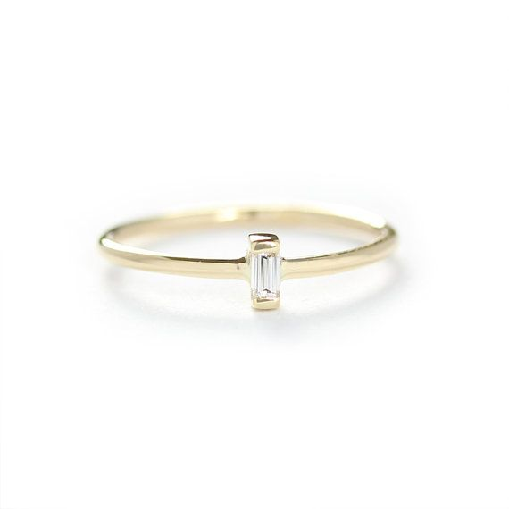14K Solid Gold Thin Band With Baguette Diamond Engagement Ring     14K Solid Gold Thin Band With Baguette Diamond Engagement