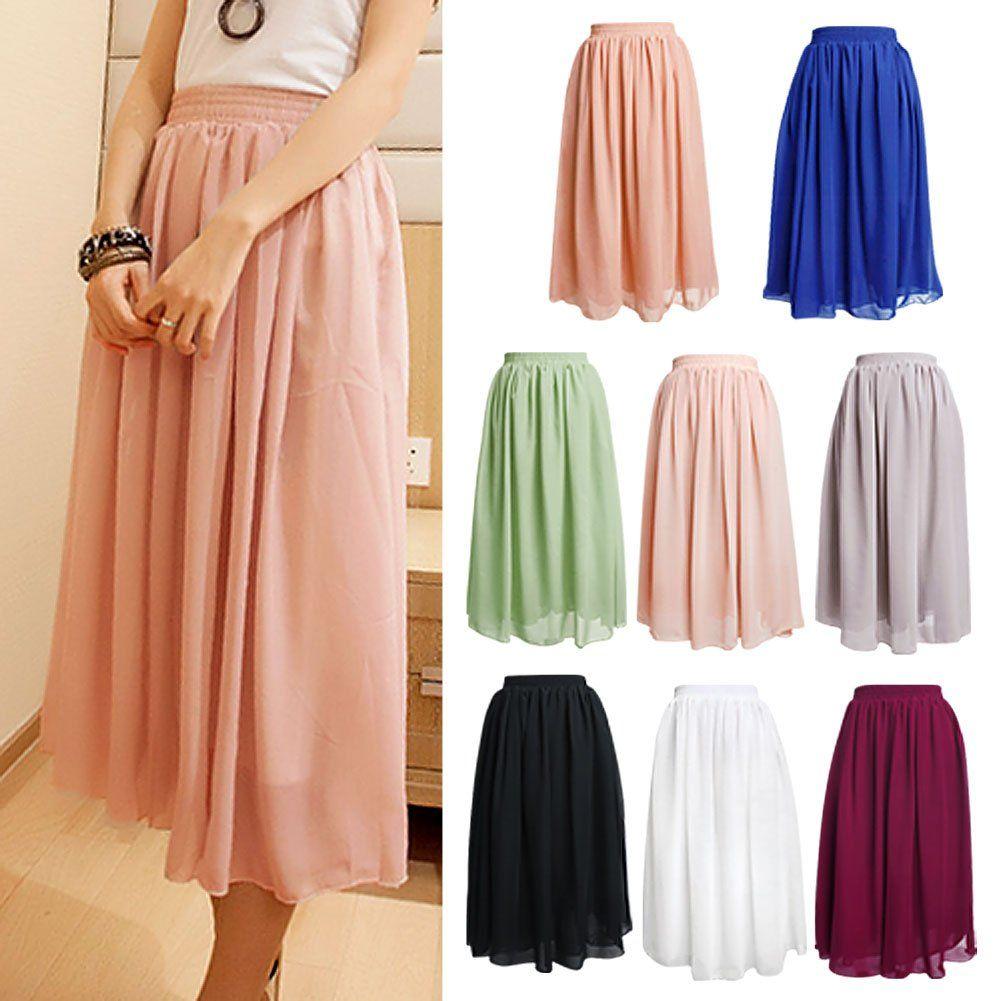 232640601 FUNOC Women Ladies Retro Vintage Double Layer Chiffon Pleat Maxi Long Skirt  Dress (Black) at Amazon Women's Clothing store:
