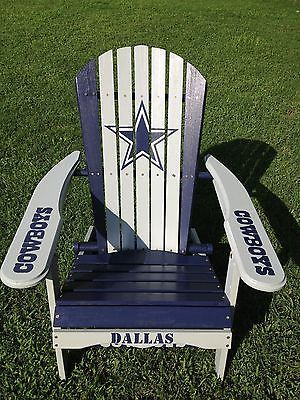 Dallas Cowboys Folding Chairs Crate Barrel Hand Painted Adirondack Chair Nfl Football Tailgating Home Garden Yard Outdoor Living Patio Furniture