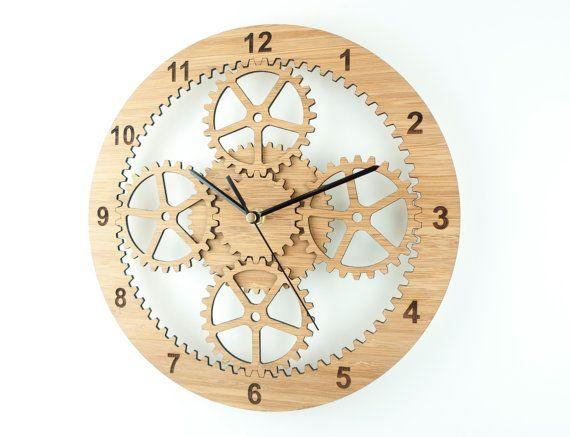 Gears clock industrial wall clock unique clock wooden cog clock retirement gift for him for Horloge murale bois moderne
