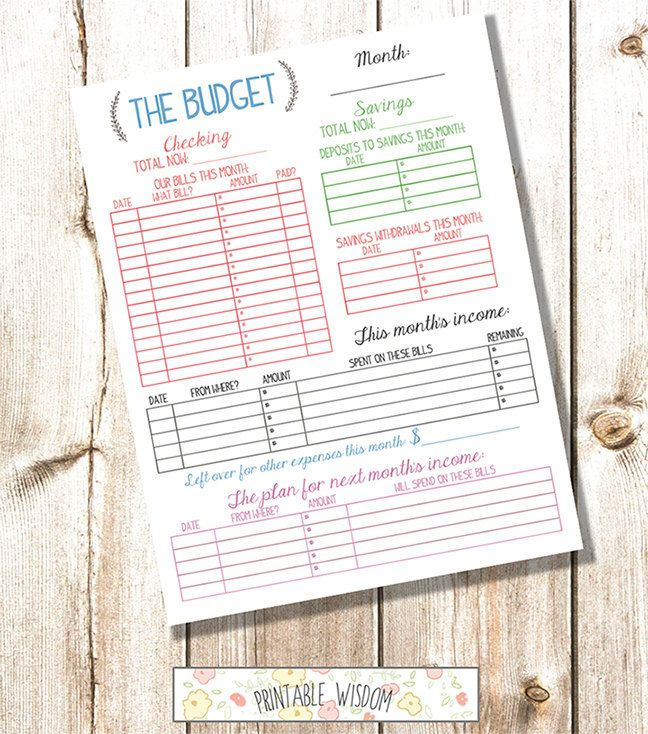 Instant Download Printable Budget Planner Organizer Monthly Diy