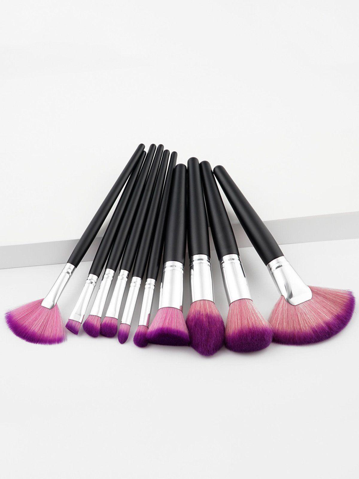 Fan Shaped Makeup Brush Set 10pcs | Makeup brushes, Makeup ...