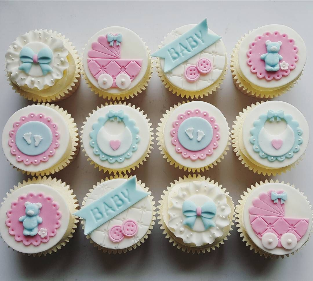 Cute Baby Pink And Blue Cupcakes For New Baby Twins Cake Cakes Cupcakes Instacake Instacupcake Baby Cupcake Baby Shower Cake Topper Baby Shower Cupcakes