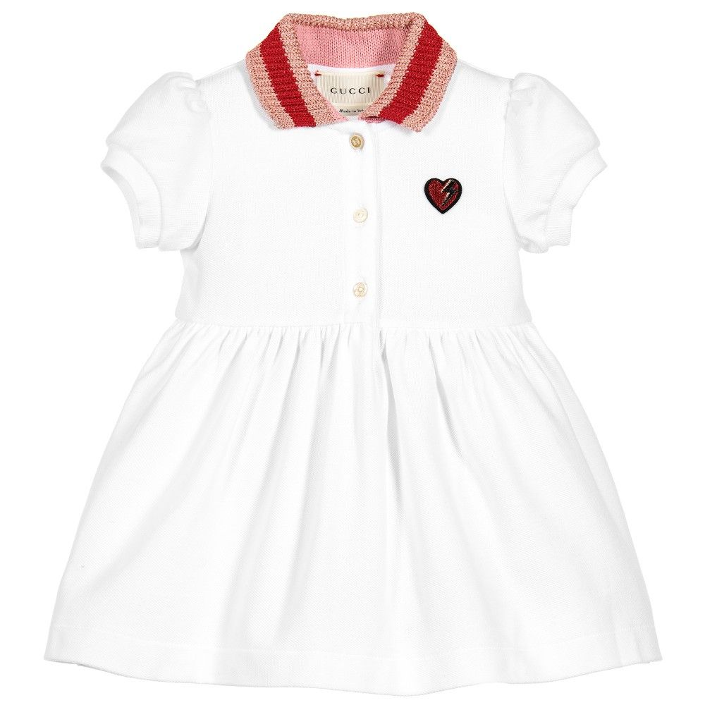64ffcd7cb1 Gucci - Baby Girls White Cotton Piqué Dress | | Billionaire ...