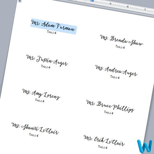 Customize Layered Place Cards In Microsoft Word Print Template And