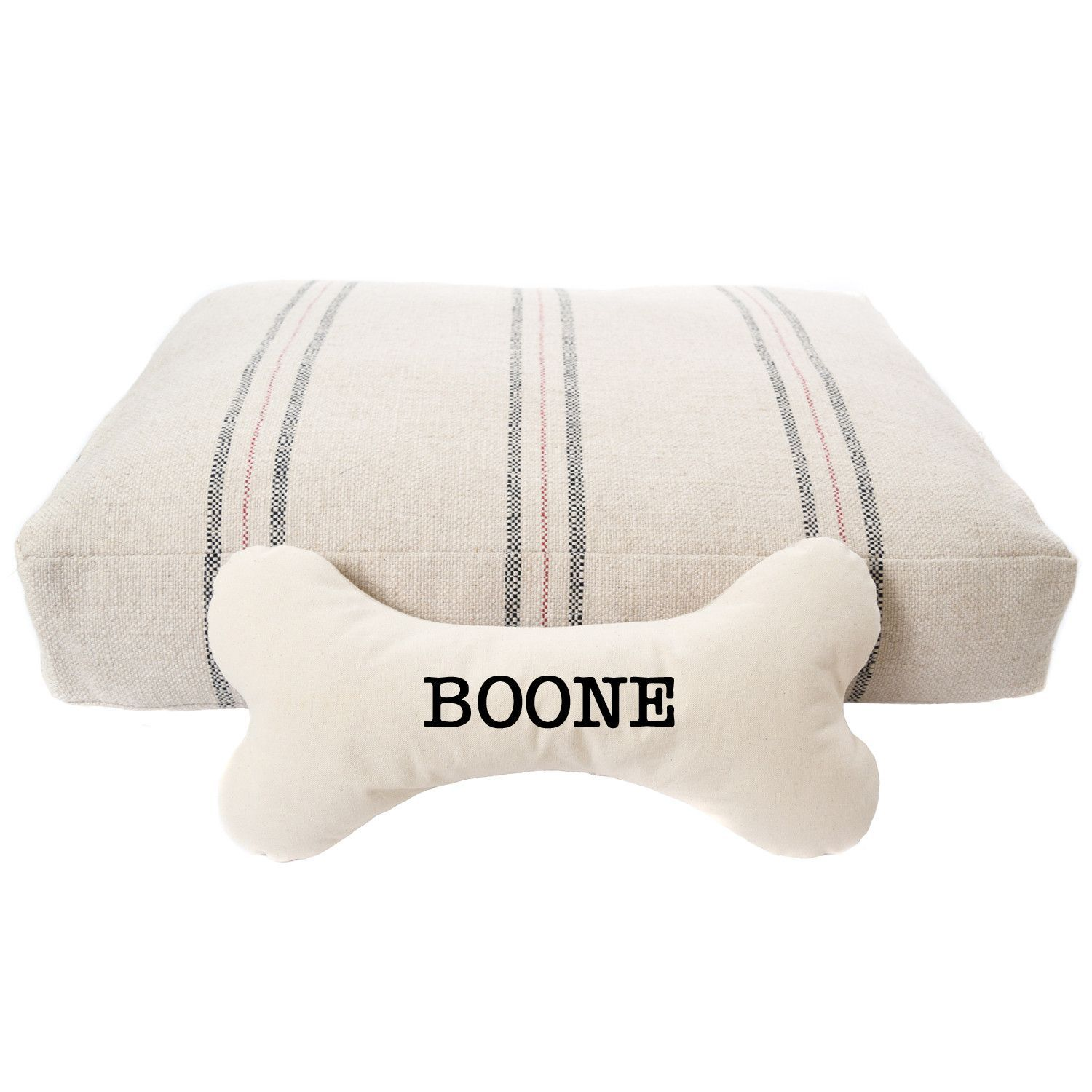 31860d8b90ca Debuting our Striped French Grain Sack Dog Bed with Personalized Bone Pillow  by A Southern Bucket. www.asouthernbucket.com.