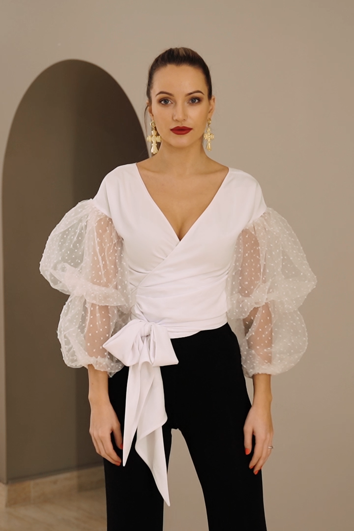 Photo of White tulle sleeves top, wedding guest outfit, wrap blouse, elegant blouse.