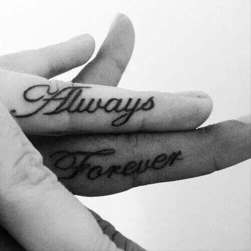 b8e699e75 Always and forever. Couples tattoo. Finger tattoo. Small tattoo ...