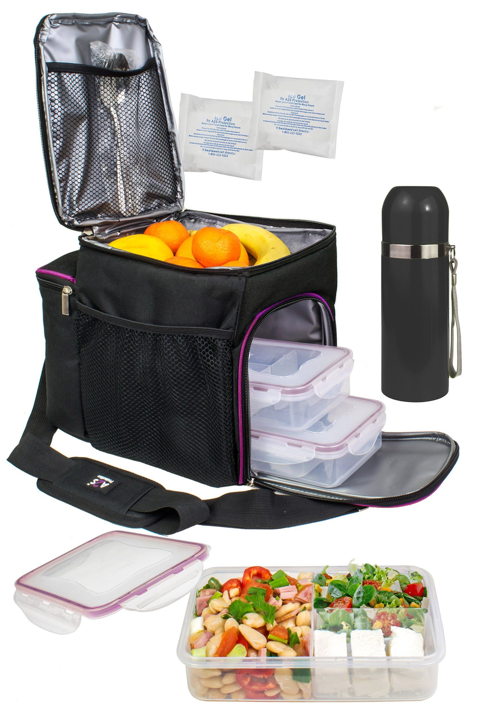 6e9394c92b5a A2S Complete Meal Prep Lunch Box 8 Pcs Set  Cooler Bag 3x Portion Control Bento  Lunch Containers Leakproof 3 Compartments Microwavable BPA Free Fork   ...