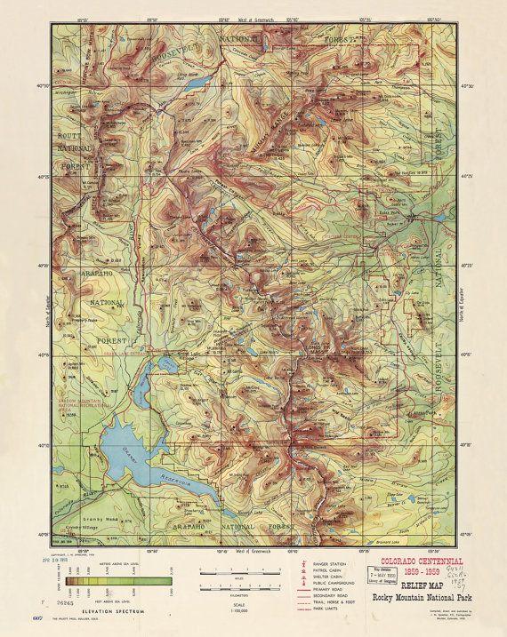 Rocky Mountain National Park PRINTABLE MAP / Downloadable U.S ...