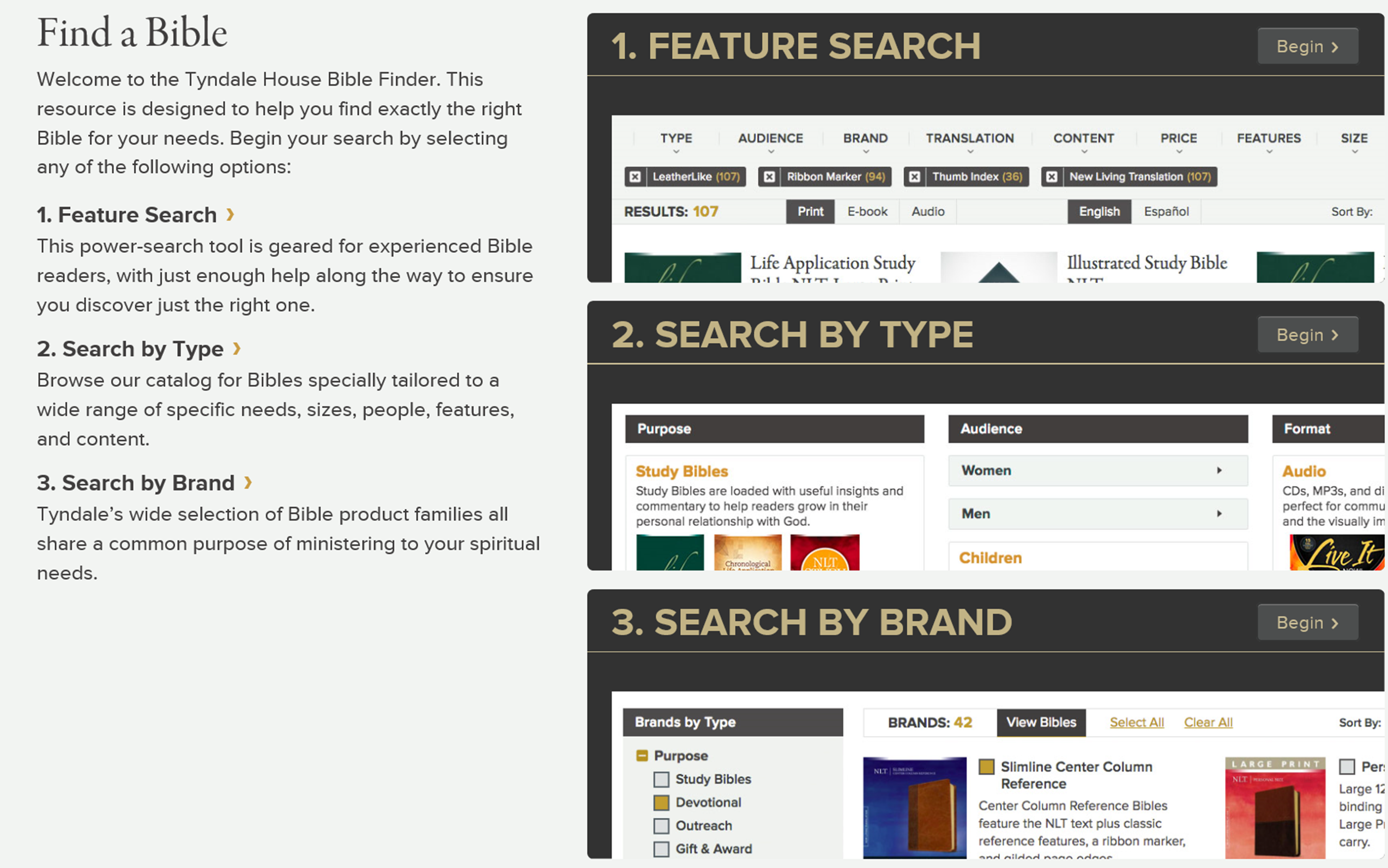 Try the Tyndale Bible Finder to find the Bible that fits you