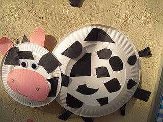 Paper plate farm cow for Kindergarten & Farm...for Kindergarten but can be modified. :) | Paper Plate ...
