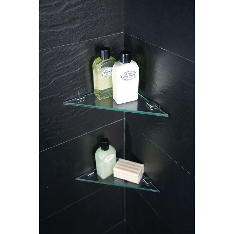 glass corner shelf w/ hardware | Fabulous Bathrooms | Pinterest ...