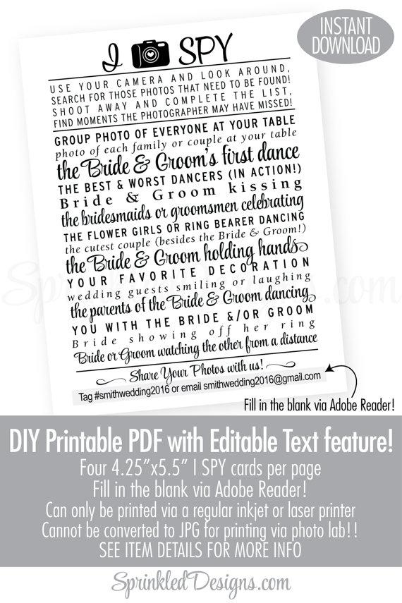 Wedding I Spy Game Printable Cards Modern Wedding Printables Black