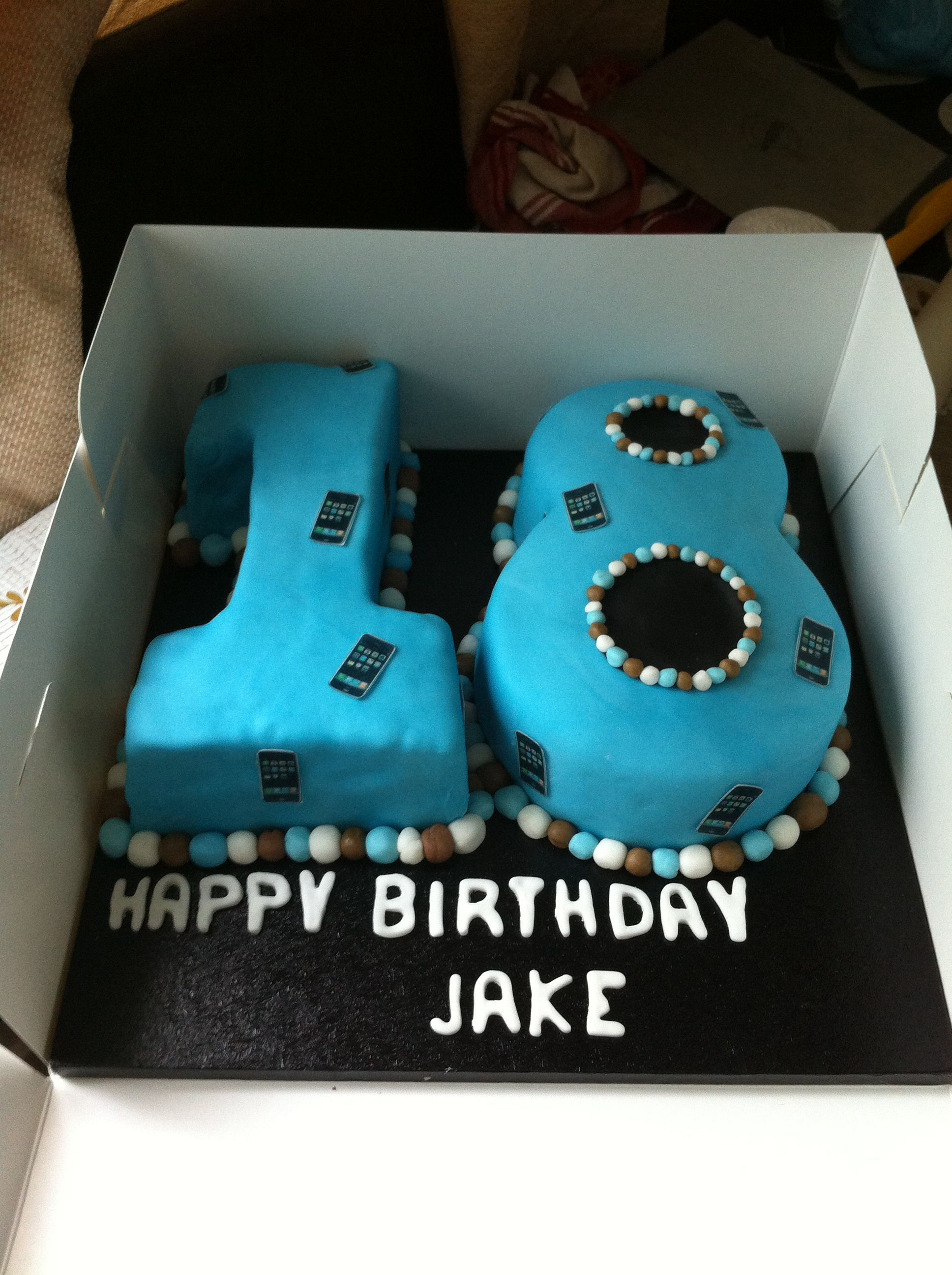 18th birthday cake for a boy, chocolate sponge with ...
