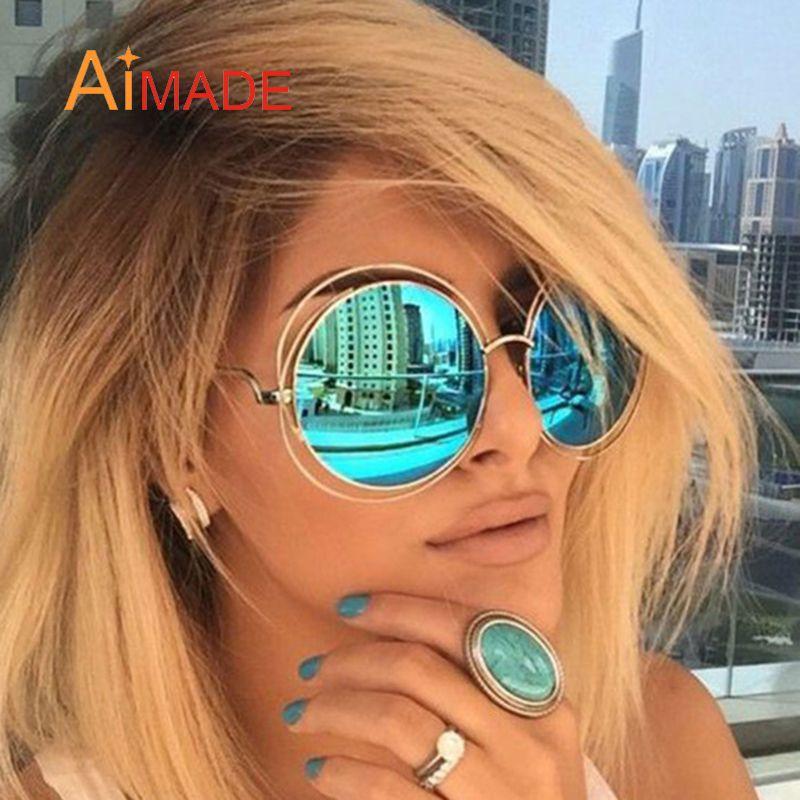 e3369cbe59a1a Barato Aimade Oversized Rodada Óculos de Sol Da Moda Mulheres de Grande  Porte Grande Espelho Retro Óculos de Sol Senhora Marca Designer UV400 Do  Vintage ...