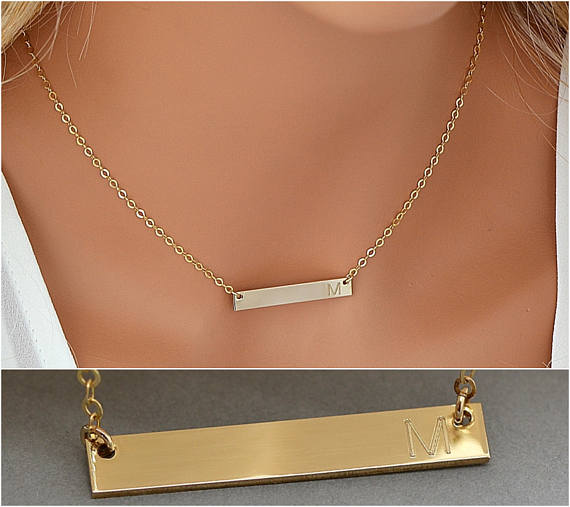 14k Gold Bar Necklace Gold Bar Necklace Personalize Initial Bar Necklace Horizontal Bar Engraved Customized 4x30 Bar Necklace Gold Bar Necklace
