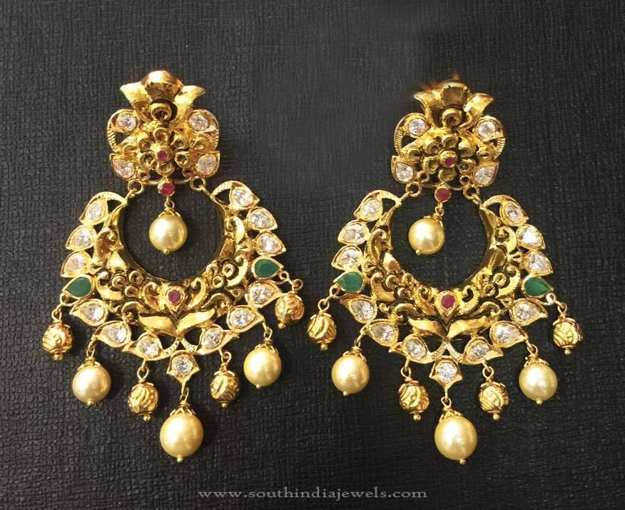 22k Gold Antique Chandbali Earrings Earrings Collections