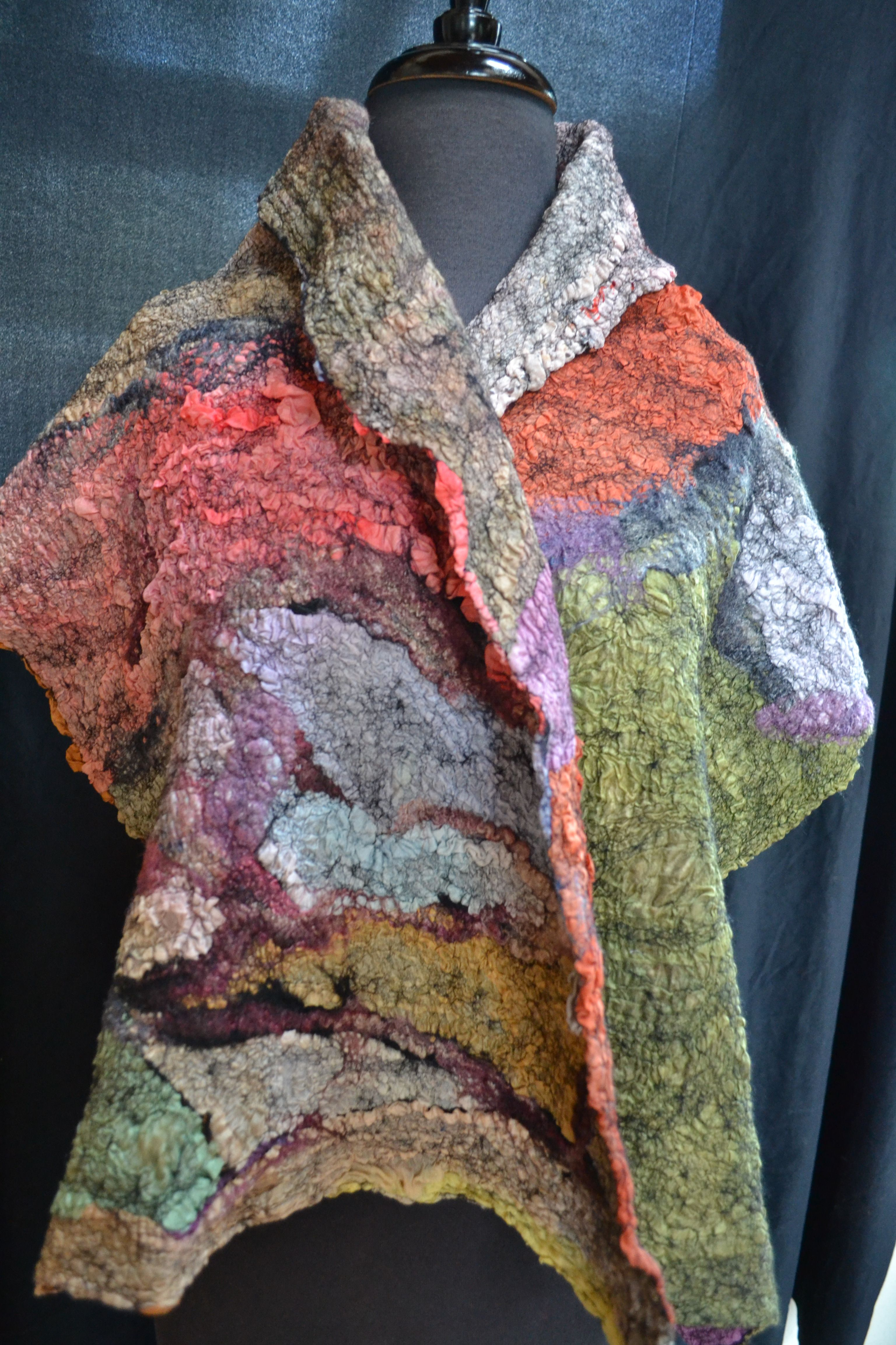 paj silk, between fine merino black wool, felted together, by www.tashwesp.com or on FB Felt Fusion by Tash Wesp felt artist