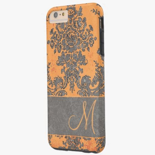 Cute iPhone 6 Case! This Vintage Damask Pattern with Monogram Tough iPhone 6 Plus Case can be personalized or purchased as is to protect your iPhone 6 in Style!