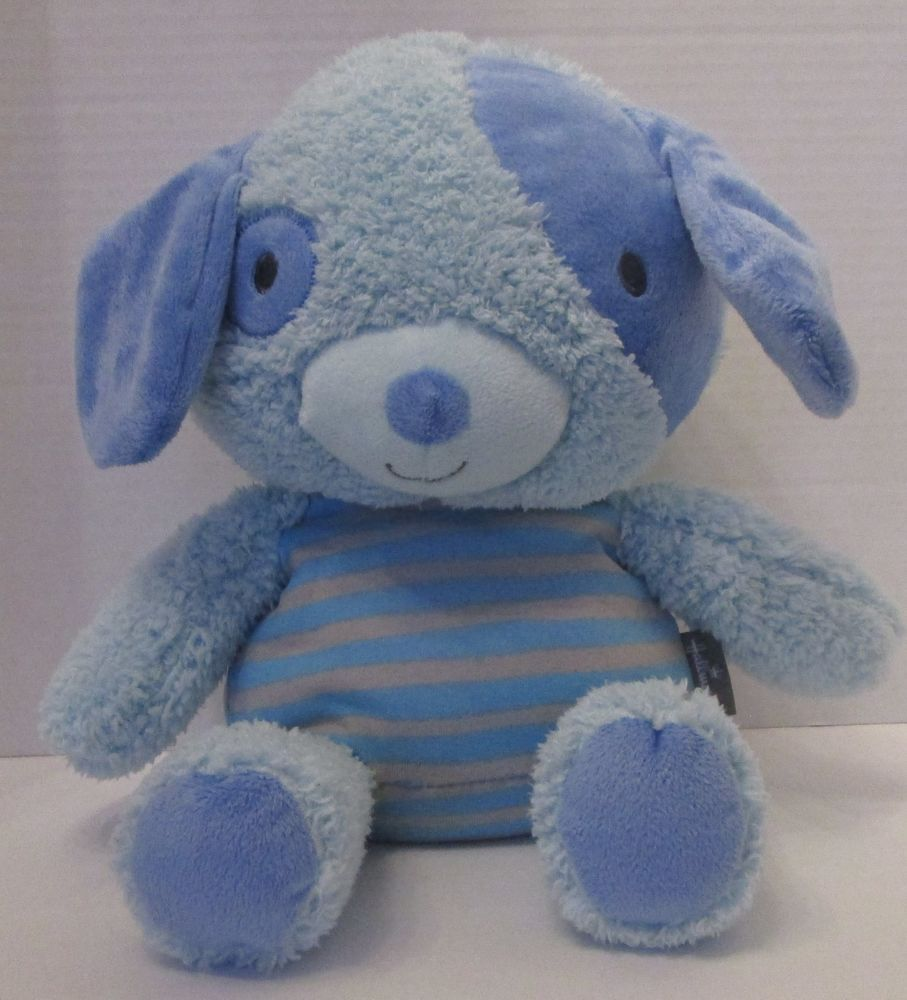 Plush Hallmark Blue Baby Dog Puppy Stuffed Animal Spot Stripe Knit