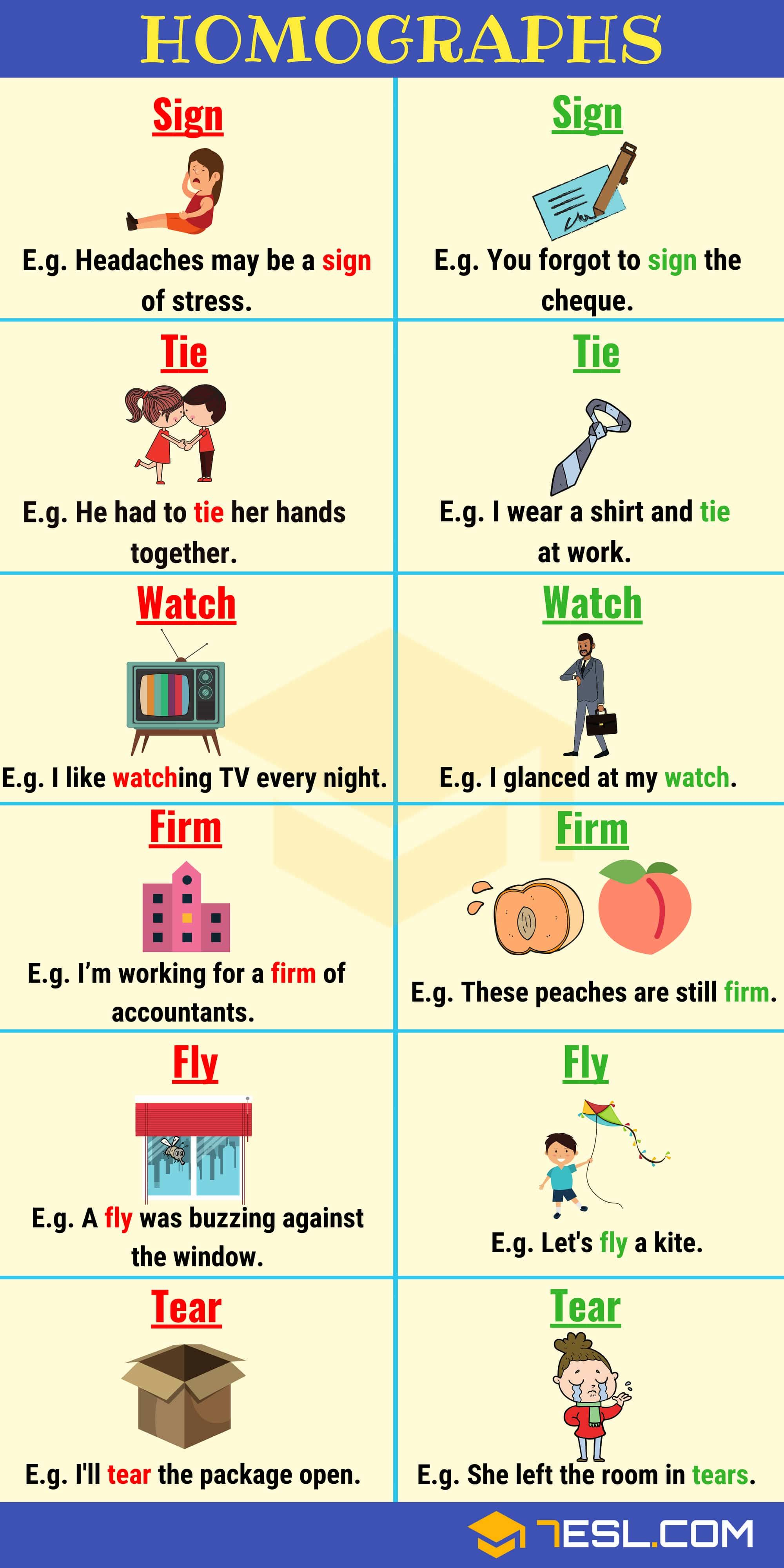 Homograph List Of 150 Homographs From A Z With Examples