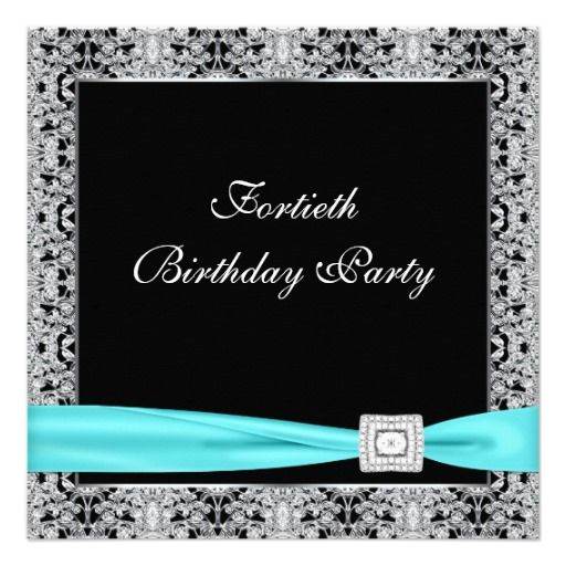 Teal blue classy black 40th birthday party personalized invitation teal blue classy black 40th birthday party personalized invitation stopboris Gallery