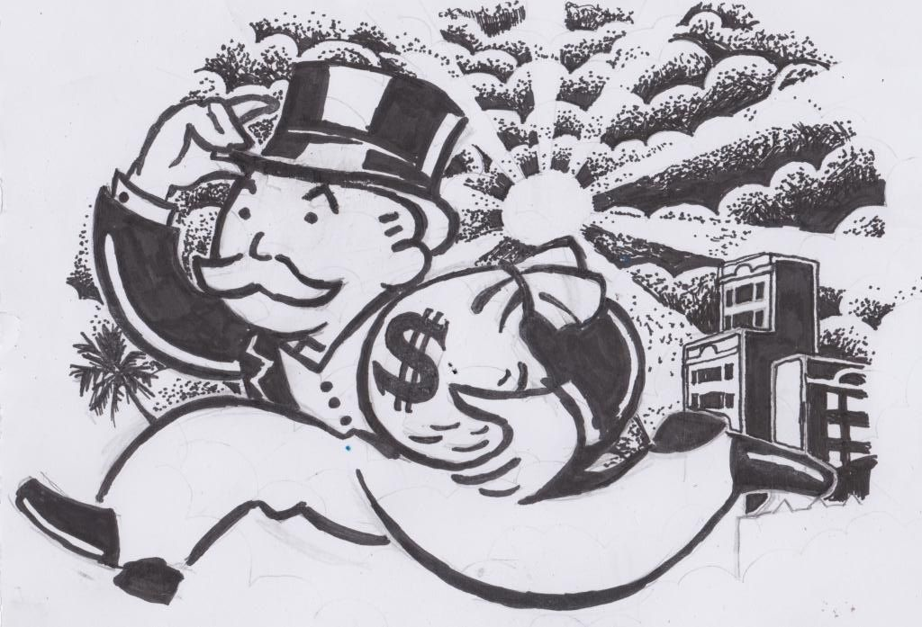 This is a photo of Unforgettable Monopoly Man Drawing