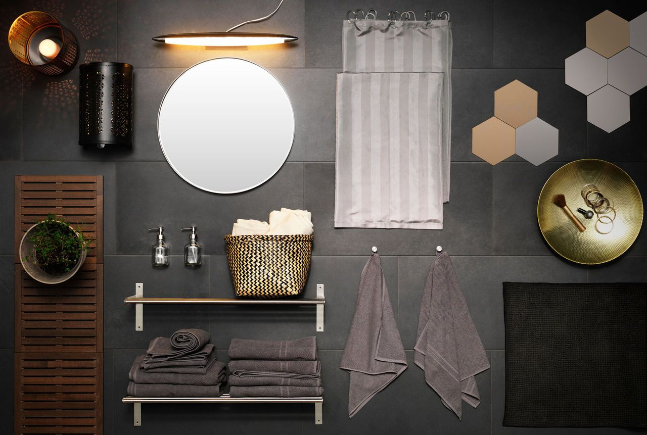 A Collage Of Bathroom Accessories Lighting and Textiles In