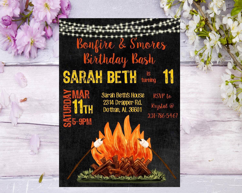 Bonfire Birthday Invitation Bonfire Birthday Party Campfire Birthday