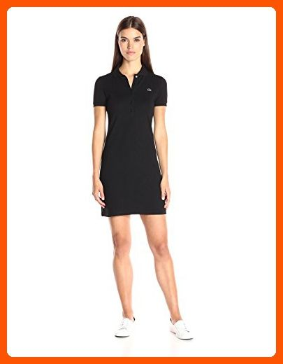 271ad0b3e9 Lacoste Women's Short Sleeve Stretch Pique Polo Dress, Black, 32 ...