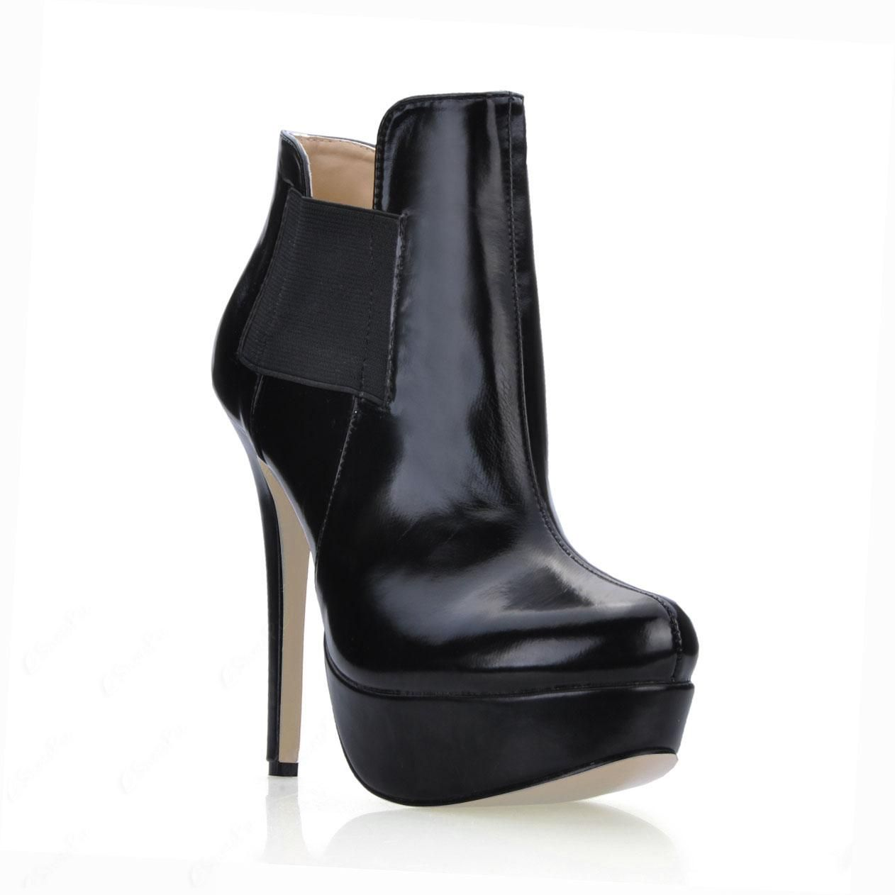 cool High Quality Black PU Stiletto Heels Short  Women's Boots