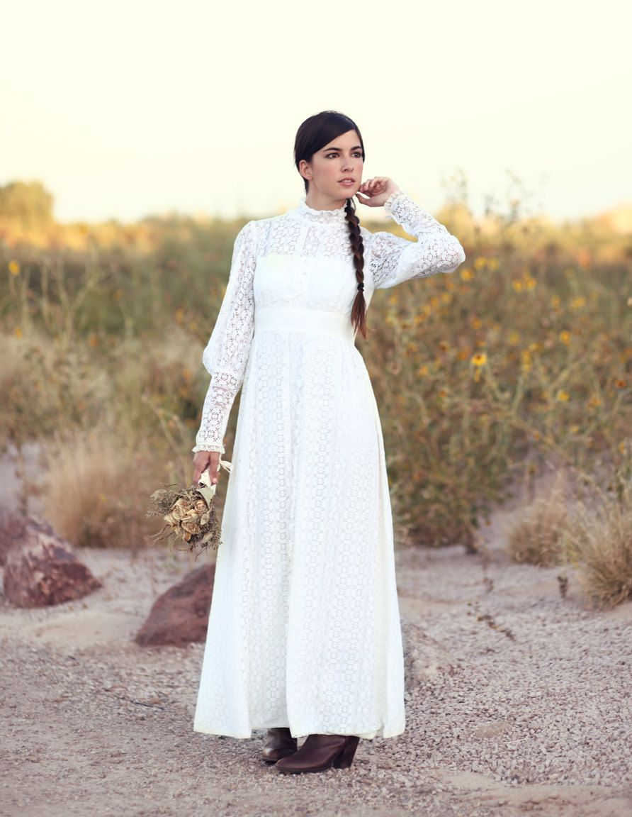Boho hippie wedding dress  s white open lace crochet empire waist boho hippie wedding dress