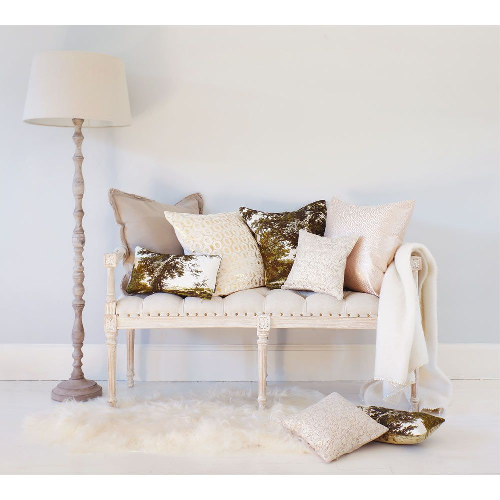 Vignette White-Washed Upholstered Bench