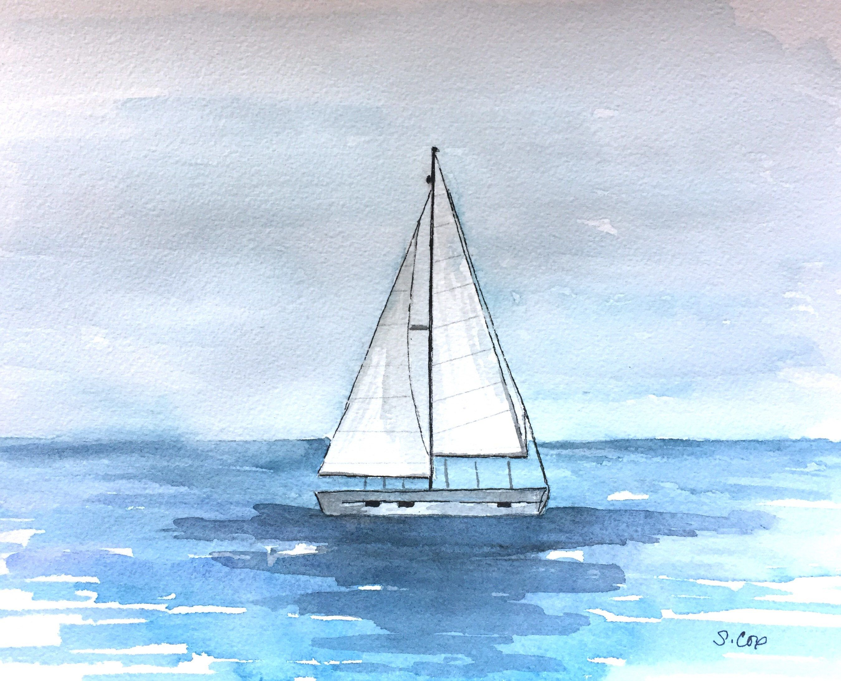 Sailboat Painting Original Watercolor Boat Nautical Decor