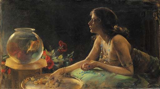 The Goldfish, Oil, Charles Courtney Curran (1861-1942, United States)