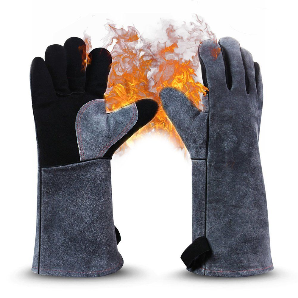 2pcs barbecue gloves high temperature double insulated