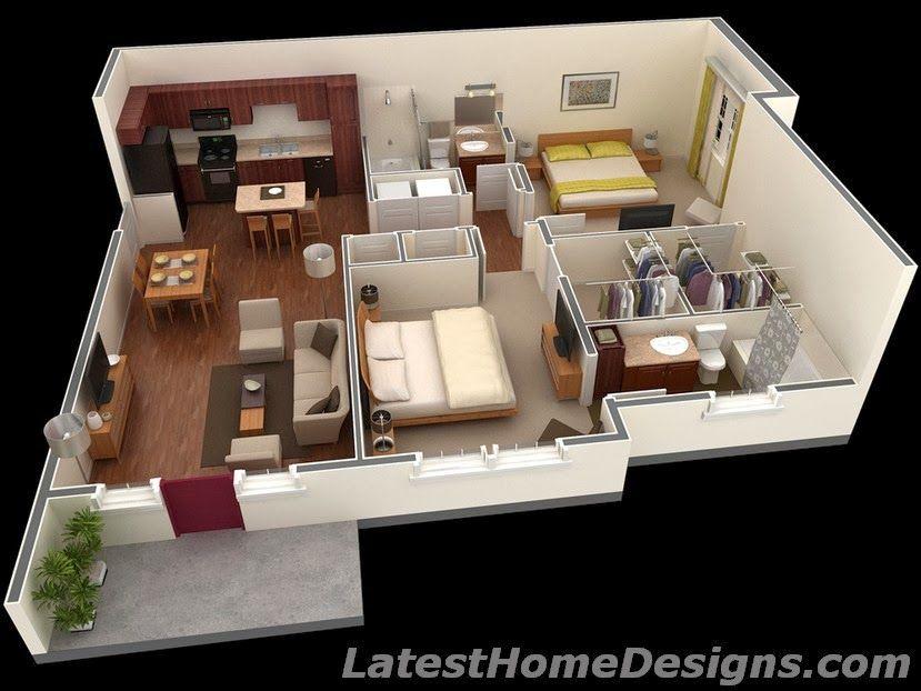 1000 Square Feet 3D 2BHK House Plans