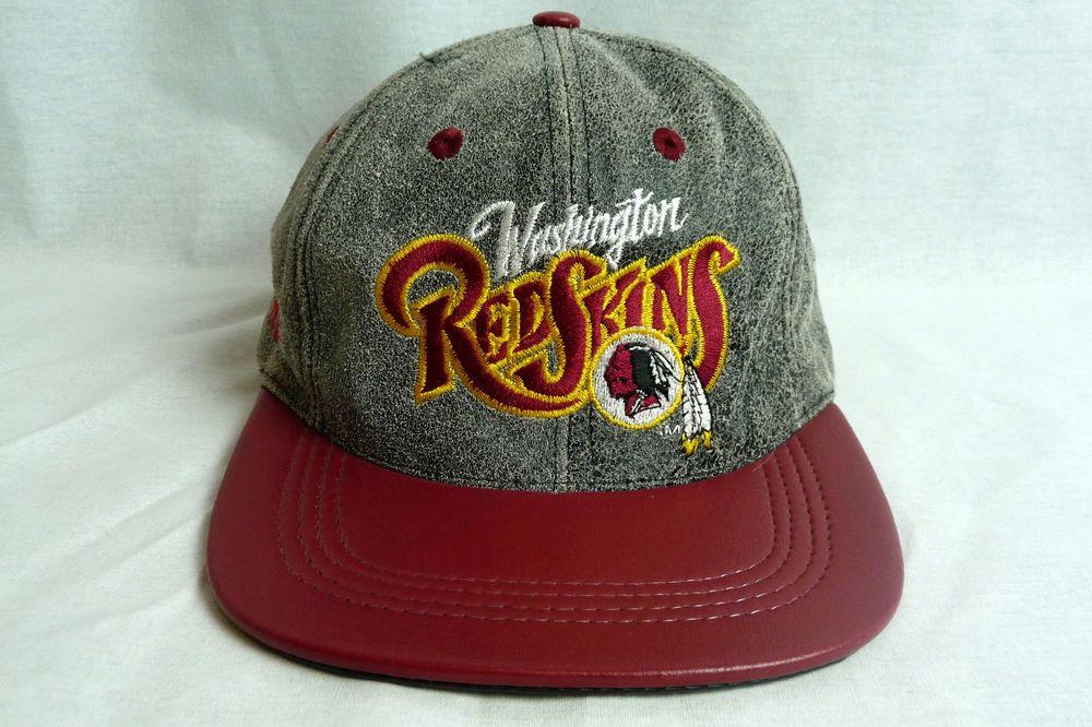 4ff7b23c8f5 Vintage Washington Redskins LEATHER snapback hat cap adjustable ...