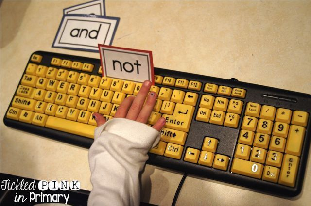 Students can practice typing sight words on a keyboard (found these at the  Dollar Tree