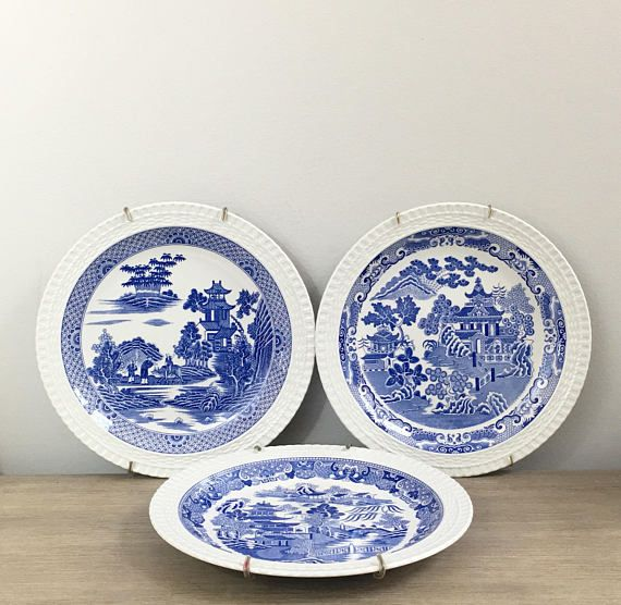 Vintage Spode Blue Room Wall Plates Wire Hangers Willow Series Set ...