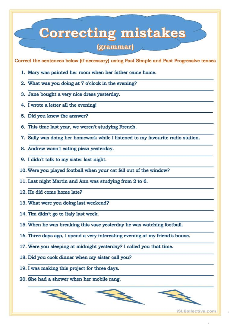 Correcting Mistakes Past Simple Past Progressive Worksheet Free Esl Printable Workshe Sentence Correction Sentence Correction Worksheets Writing Correction [ 1079 x 763 Pixel ]