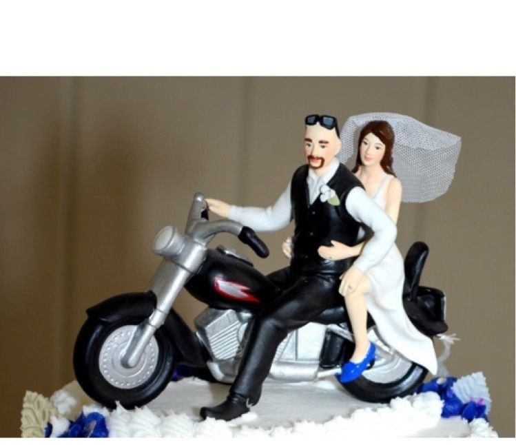 Motorcycle Cake Topper Bald Groom With Go T And Bride In Home Garden Wedding Supplies Toppers