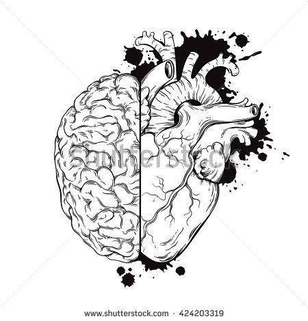 Line Art Human Brain And Heart Halfs Grunge Sketch Tattoo Design Isolated On White Background Vector Illustration Logic Emotion Priority Concept
